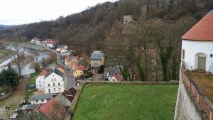 Blick vom Schloss auf die Mulde