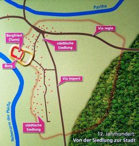 Keimzelle Leipzigs zwischen Fluss Parthe und Pleiße